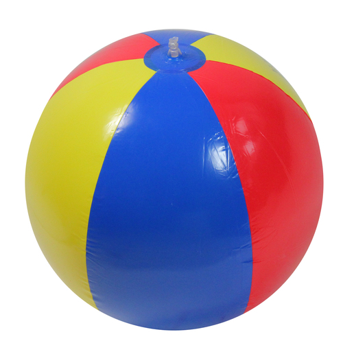 46-Inch Red and Yellow Inflatable Classic Beach Ball Swimming Pool Toy - IMAGE 1