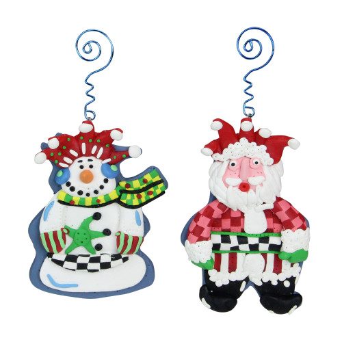 """Set of 4 Red Snowman and Santa Claus Christmas Ornaments 5"""" - IMAGE 1"""