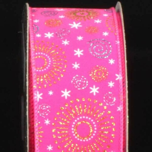 "Pink Swirls and Sunbursts Wired Craft Ribbon 2.5"" x 20 Yards - IMAGE 1"