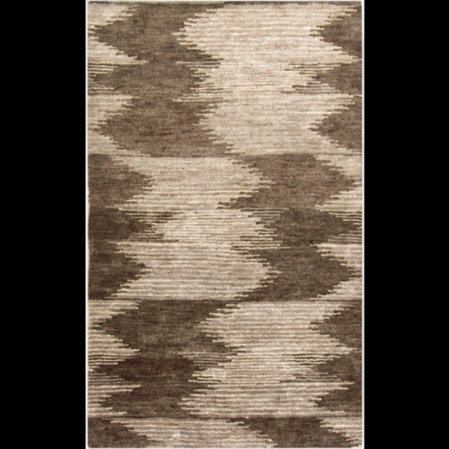8' x 11' Khaki Brown and Beige Contemporary Hand Knotted Rectangular Area Throw Rug - IMAGE 1