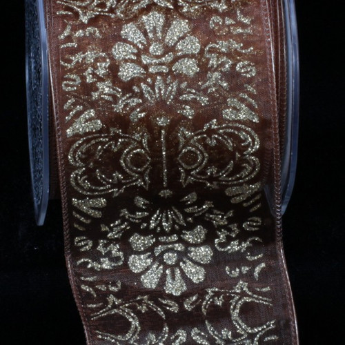 """Sheer Brown and Gold Wired Craft Ribbon 2.75"""" x 20 Yards - IMAGE 1"""
