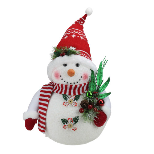"20"" White and Red Sparkling Snowman with Nordic Santa Hat Christmas Decor - IMAGE 1"