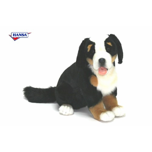 "Set of 2 Black and White Handcrafted Bernese Mountain Dog Puppy Stuffed Animals 13.25"" - IMAGE 1"