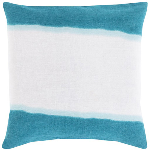 """18"""" Teal and White Double Dip Decorative Throw Pillow - Down Filler - IMAGE 1"""