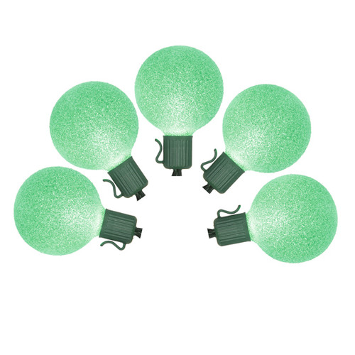 10 Battery Operated Green LED G50 Mini Christmas Lights - 9 ft Green Wire - IMAGE 1