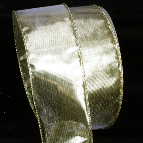 """Gold Solid Wire Edged Craft Ribbon 2"""" x 80 Yards - IMAGE 1"""