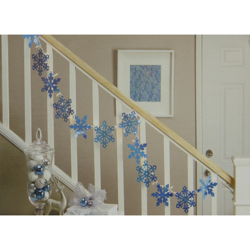 35 Blue and Clear Holographic Snowflake Christmas Light Garland Mini Lights - 7.25 ft White Wire - IMAGE 1