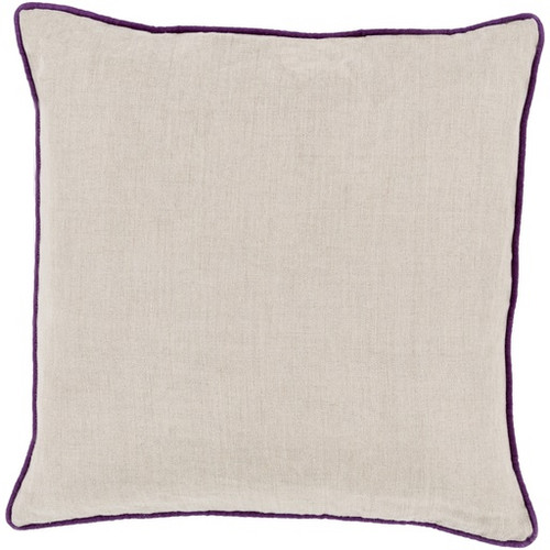 """20"""" Beige and Purple Contemporary Square Throw Pillow - IMAGE 1"""