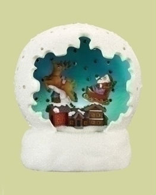 "4"" White and Blue Battery Operated LED Lighted Santa Claus Sleigh Ride Christmas Table Top Dome - IMAGE 1"