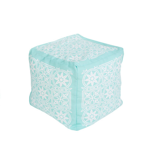 "18"" Mint Green and Cream Encompassed Flowers Square Outdoor Patio Pouf Ottoman - IMAGE 1"