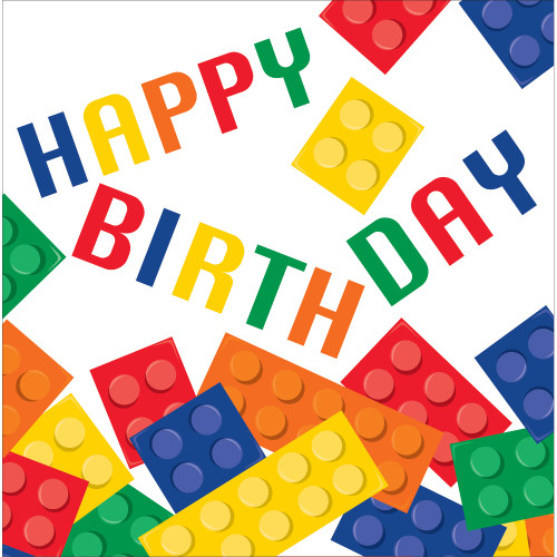 "Club Pack of 192 Colorful Building Block Themed 2-Ply ""Happy Birthday"" Luncheon Party Napkins 6.5"" - IMAGE 1"
