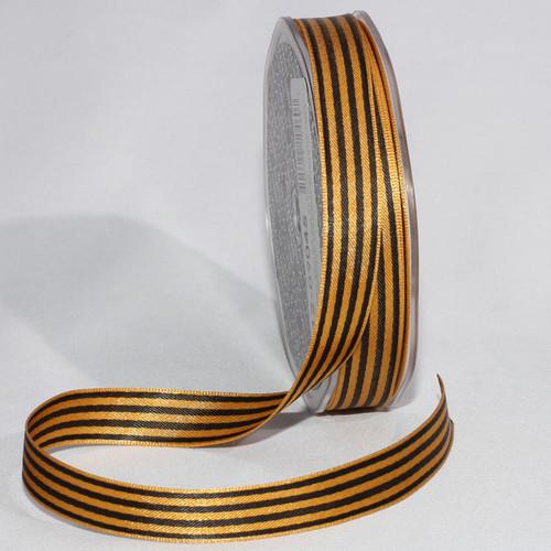 "Black and Gold Stripe Craft Ribbon 0.50"" x 162 Yards - IMAGE 1"