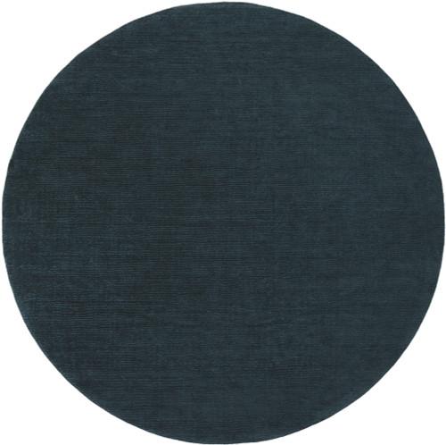 8' Jade Black Hand Loomed Solid Round Area Throw Rug - IMAGE 1