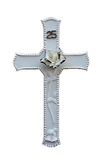 """25th Silver Wedding Anniversary Porcelain Religious Wall Cross 8"""" - IMAGE 1"""