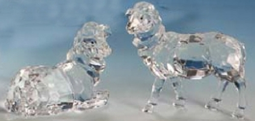"""Club Pack of 12 Icy Clear Christmas Nativity Sheep Table Top Figurines 4"""" - IMAGE 1"""