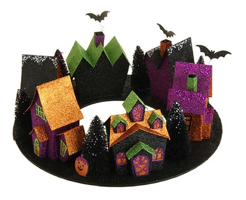 """16"""" Orange and Black Spooky Haunted Street of Houses Lighted Halloween Decoration - IMAGE 1"""