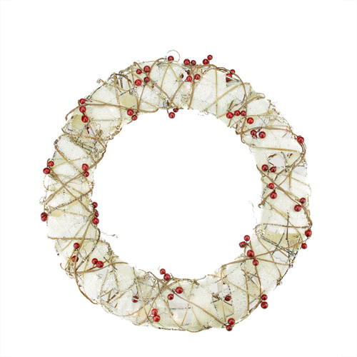 Pre-Lit Berry Artificial Christmas Wreath - 18-Inch, Clear Lights - IMAGE 1
