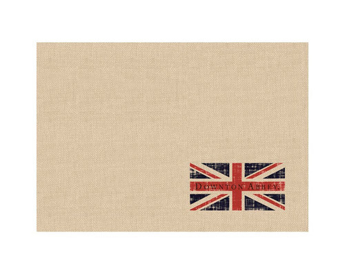 """Set of 4 Downton Abbey British Flag Beige Table Placemats 14"""" x 20"""" - IMAGE 1"""
