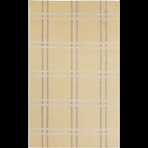 5' x 8' Geometric Wheat Brown and Gray Hand Woven Wool Area Throw Rug - IMAGE 1