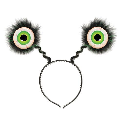 Club Pack of 12 Halloween Feathered Green Eyeball Bopper Headbands - IMAGE 1