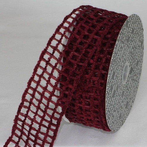 "Burgundy Red Netting Wired Craft Ribbon 2.5"" x 20 Yards - IMAGE 1"