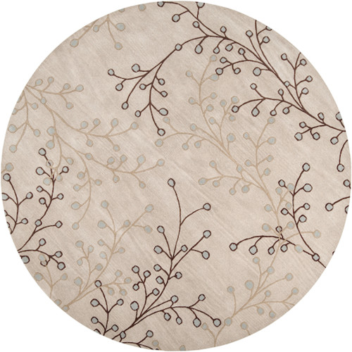 8' Brown and Gray Hand-Tufted Round Wool Area Throw Rug - IMAGE 1