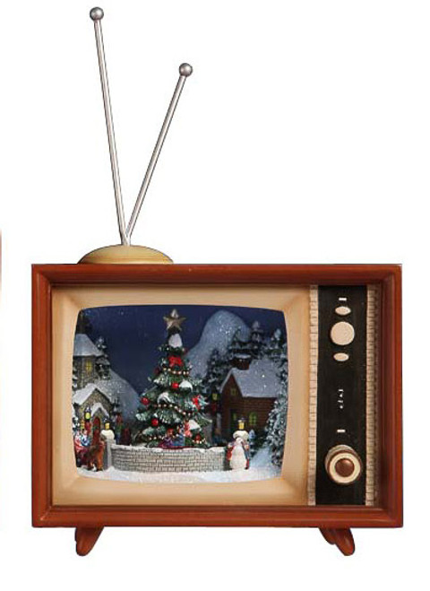 """Set of 2 Brown and White LED Lighted Musical Christmas TV Box Figurines 9"""" - IMAGE 1"""
