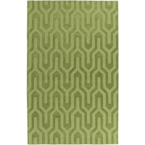 3.25' x 5.25' Navajo Mazes Green Hand Loomed Plush Pile Wool Area Throw Rug - IMAGE 1