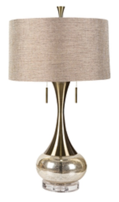 """33"""" Glittering Gold Glass Table Lamp with Beige Modified Drum Shade - IMAGE 1"""