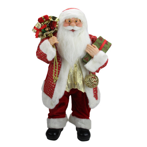 """24.5"""" Red Snazzy Standing Santa Christmas Ornament and Gifts Figurine - IMAGE 1"""