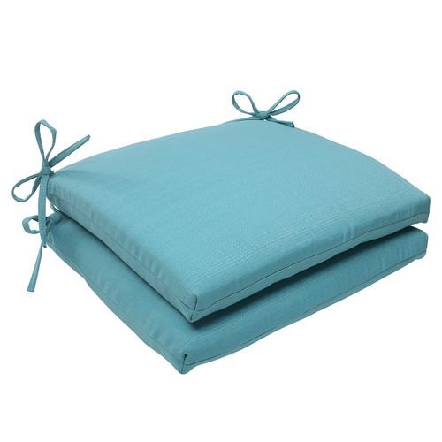 "Set of 2 Aquatic Turquoise Outdoor Patio Squared Seat Cushions 18.5"" - IMAGE 1"