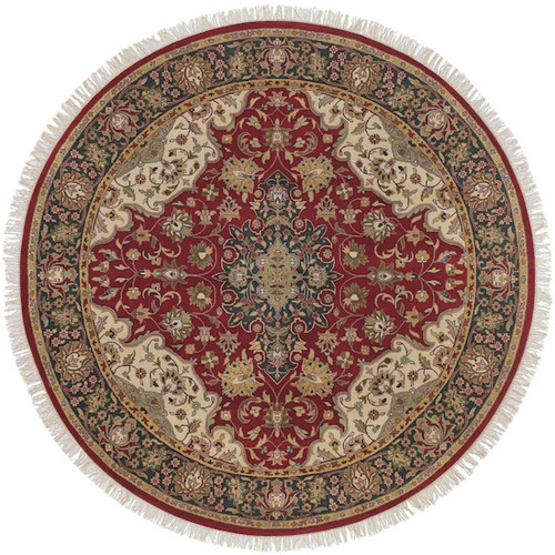 8' Floral Green and Red Hand Knotted Round Wool Area Throw Rug - IMAGE 1
