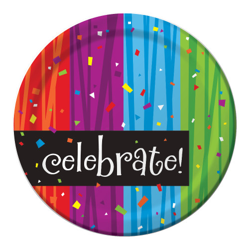 "Club Pack of 96 Purple and Blue Milestone ""Celebrate"" Disposable Paper Party Lunch Plates 7"" - IMAGE 1"