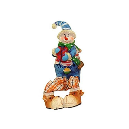 "5.5"" Festive Blue and Orange Plaid Sitting Snowman Christmas Table Top Figure - IMAGE 1"