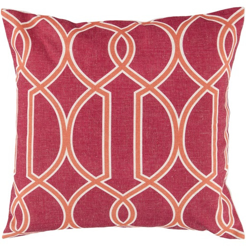 """22"""" Red and Orange Square Throw Pillow - Down Filler - IMAGE 1"""