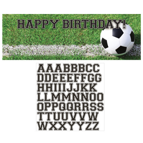 """Pack of 6 Green and White Soccer Sports Birthday Party Banners 60"""" - IMAGE 1"""
