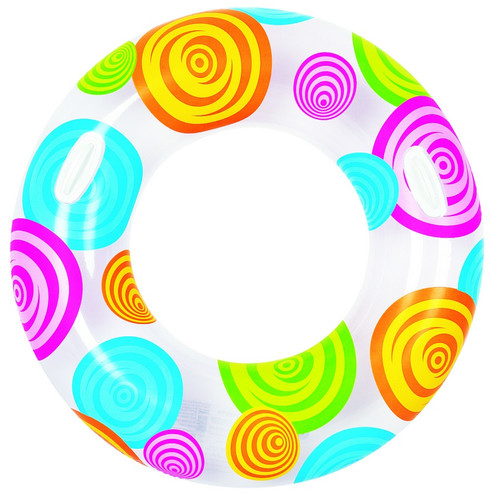"""35"""" Inflatable Circles and Swirls Swimming Pool Inner Tube Ring Float - IMAGE 1"""