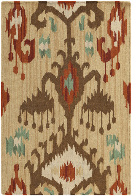 2' x 3' Hue Montage Brown and Orange Hand Woven Wool Area Throw Rug - IMAGE 1