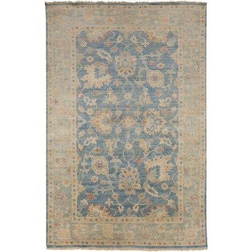5.5' x 8.5' Indistinct Lake Blue and Beige Hand Knotted Rectangular New Zealand Wool Area Throw Rug - IMAGE 1