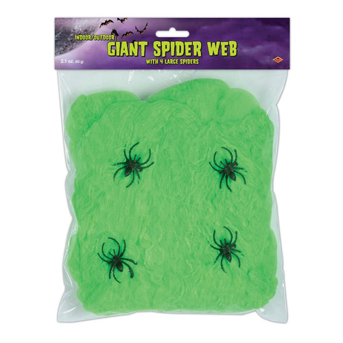 Club Pack of 12 Flame Resistant Giant Green Halloween Spider Web with Spiders - IMAGE 1