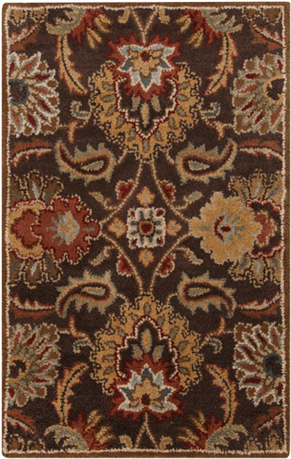2' x 3' Brown and Ivory Contemporary Hand Tufted Floral Rectangular Wool Area Throw Rug - IMAGE 1