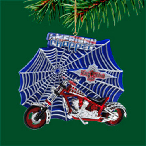 "3"" Blue and Red American Chopper Motorcycle Glass Christmas Ornament - IMAGE 1"