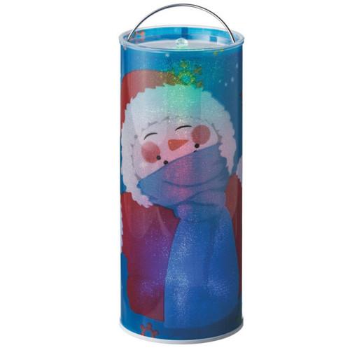 "12"" BlueTransparent Jovial Snowman Santa LED Color Changing Lighted Hanging Christmas Lantern - IMAGE 1"