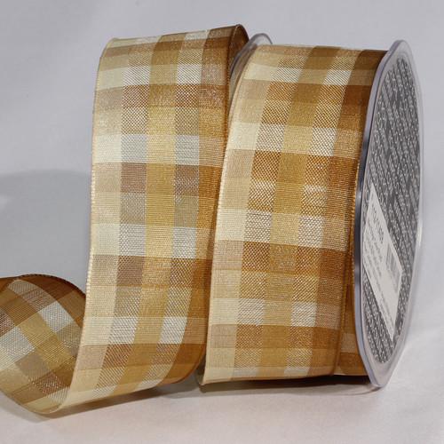 "Beige and White Plaid Craft Ribbon 1.5"" x 50 Yards - IMAGE 1"