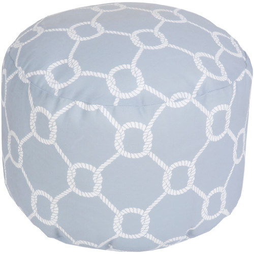 """20"""" Light Gray and Ivory Chain Link Round Outdoor Patio Pouf Ottoman - IMAGE 1"""