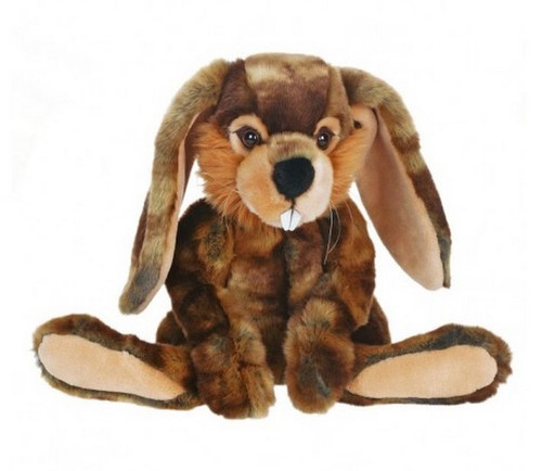 """Set of 2 Brown Handcrafted Soft Plush Whimsey Bunny Stuffed Animals 11.75"""" - IMAGE 1"""