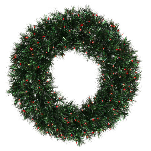 Pre-Lit Midnight Green Pine Artificial Christmas Wreath - 36-Inch, Red Lights - IMAGE 1