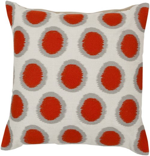 """22"""" Blood Orange and Cream White Contemporary Square Throw Pillow - Down Filler - IMAGE 1"""