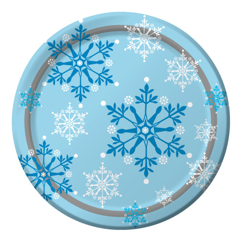 "Club Pack of 96 Blue and White Winter Snowflakes Swirl Christmas Dinner Plates 8.75"" - IMAGE 1"