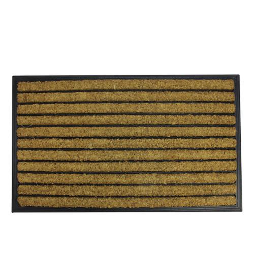 "Black and Brown Striped Non-Skid Outdoor Rectangular Doormat 17.75"" x 29.5"" - IMAGE 1"